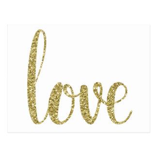 Gold love postcards, glitter postcard