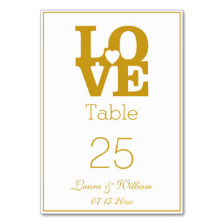 Gold LOVE Wedding Table Number Cards Table Cards