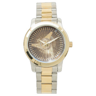 Gold Lowrider Low Rider Wire Wheels Wrist Watch