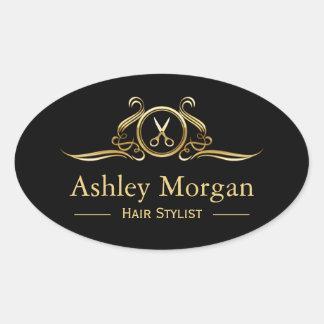 Gold Luxury Beauty Salon Hair Cut Scissor Logo Oval Sticker