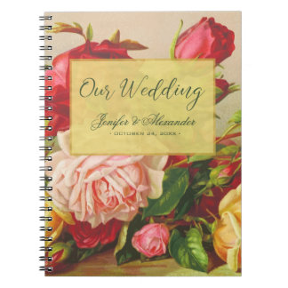 Gold luxury chic vintage roses elegant wedding notebook