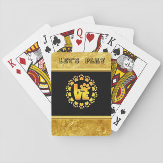 Gold luxury decoration dog paw gold foil and black playing cards