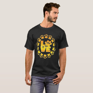 Gold luxury decoration dog paw gold foil and black T-Shirt
