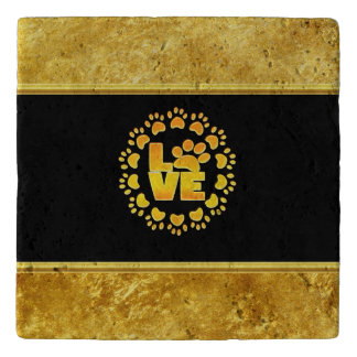 Gold luxury decoration dog paw gold foil and black trivet