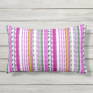 "Gold, Magenta, Teal Stripe Lumbar Pillow 13"" x 21"""