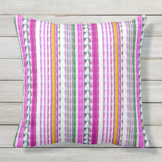 Gold, Magenta, Teal Stripes Outdoor Throw Pillow