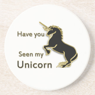 Gold magical fairytale unicorn coaster