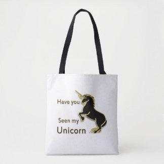 Gold magical fairytale unicorn tote bag