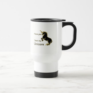 Gold magical fairytale unicorn travel mug