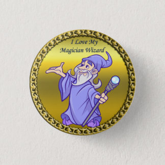 Gold Magical magician sorceress purple wizard 1 Inch Round Button