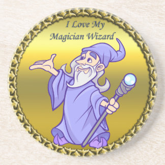 Gold Magical magician sorceress purple wizard Coaster