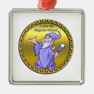 Gold Magical magician sorceress purple wizard Metal Ornament