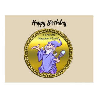 Gold Magical magician sorceress purple wizard Postcard