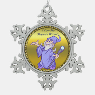 Gold Magical magician sorceress purple wizard Snowflake Pewter Christmas Ornament