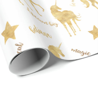 Gold Magical Unicorns Wrapping Paper