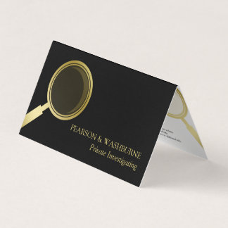 Gold Magnifying Glass - Private Investigator Business Card