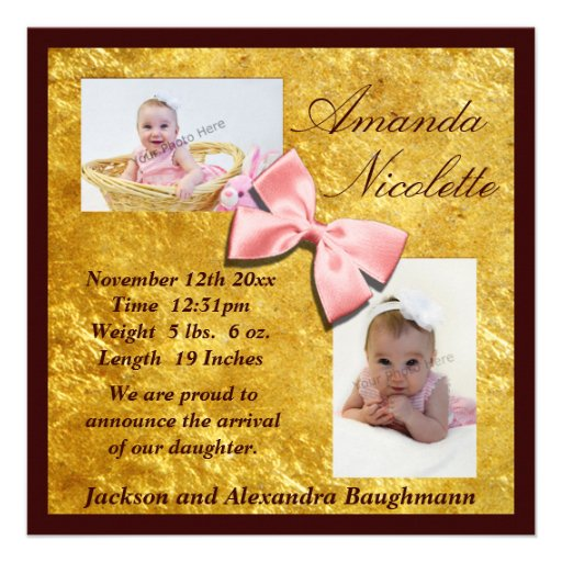 Gold & Mahogany with Pink Bow Personalized Invitation