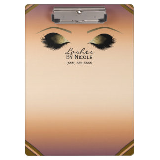 Gold Makeup Eyes Lashes Glam Personalized Clipboard