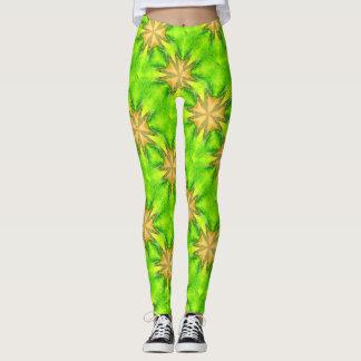 gold maltese stars green leggings