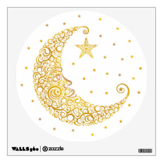 Gold Man in the Moon Wall Decal