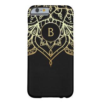 Gold Mandala Black Chic Modern Glam Custom Barely There iPhone 6 Case