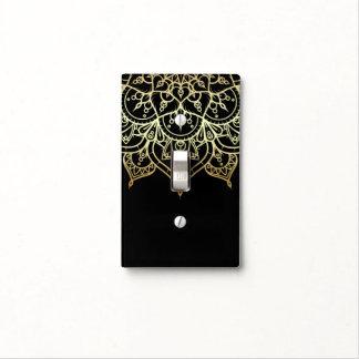 Gold Mandala Black Chic Modern Glam Elegant Light Switch Cover