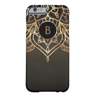 Gold Mandala Brown Bronze Chic Modern Glam Custom Barely There iPhone 6 Case