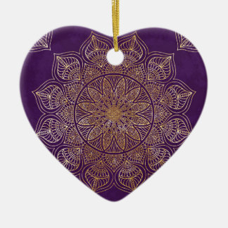 Gold mandala ceramic heart ornament