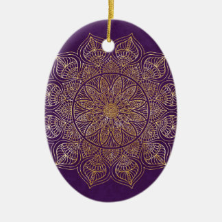Gold mandala ceramic oval ornament