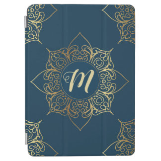 Gold Mandala Damask Pattern & Monogram