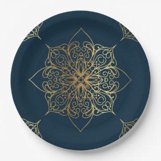 Gold Mandala Damask Pattern Paper Plate