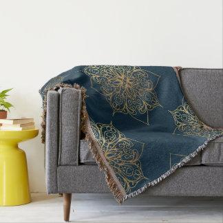 Gold Mandala Damask Pattern Throw Blanket