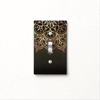 Gold Mandala Earthy Brown Bronze Modern Glam Light Switch Cover