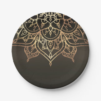 Gold Mandala Earthy Brown Bronze Modern Glam Party Paper Plate