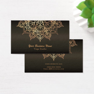 Gold Mandala  Earthy Brown Bronze Modern Yoga Business Card