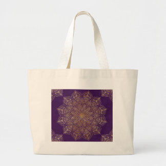 Gold mandala large tote bag