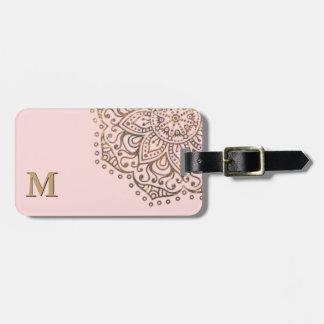 Gold Mandala Monogram | Chic Blush Pink Boho Luggage Tag