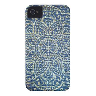 Gold Mandala on Blue Jeans iPhone 4 Case