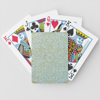 Gold Mandala on Light Blue Jeans Bicycle Playing Cards