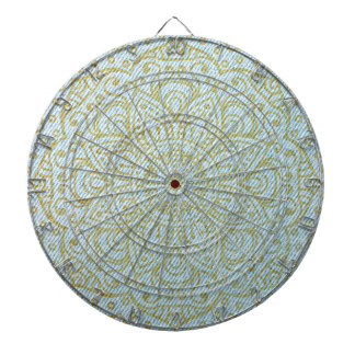 Gold Mandala on Light Blue Jeans Dartboard