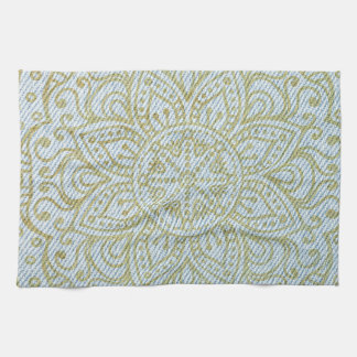 Gold Mandala on Light Blue Jeans Hand Towel