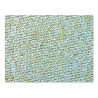 Gold Mandala on Light Blue Jeans Postcard