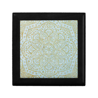 Gold Mandala on Light Blue Jeans Trinket Box