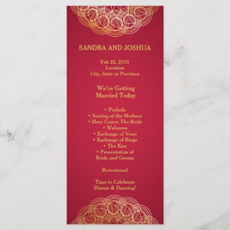 Gold Mandala on Red | Wedding Program rack card