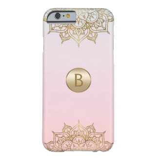 Gold Mandala Pink Peach Chic Modern Glam Custom Barely There iPhone 6 Case