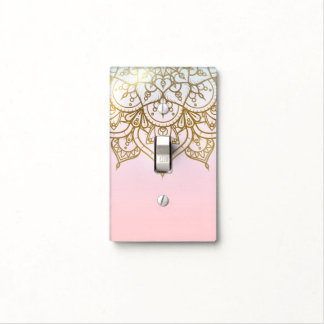 Gold Mandala Pink Peach Chic Modern Glam Light Switch Cover