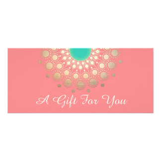 Gold Mandala Pink Salon and Spa Gift Certificate Personalized Rack Card