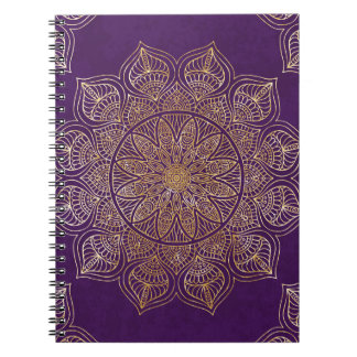 Gold mandala spiral notebook