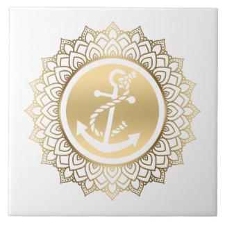 Gold Mandala & White Boat Anchor Tile