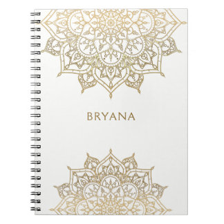 Gold Mandala White Chic Glamour Modern Glam Notebooks
